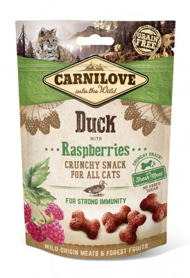 Лакомство для кошек Carnilove Cat Duck with Raspberries Crunchy Snack утка, малина 50 гр.