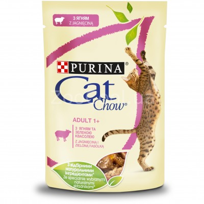 Упаковка влажного корма для кошек Purina Cat Chow Adult с ягненком и зеленой фасолью 85 г x 24 шт
